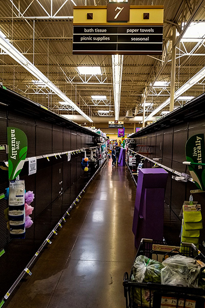 empty paper products aisle